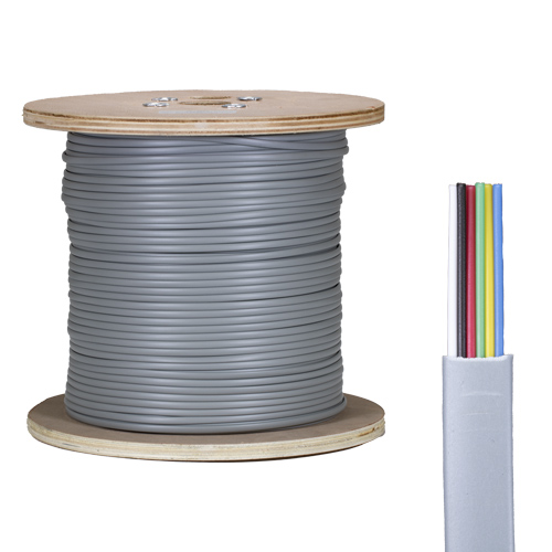 6 Core PVC CPR Eca Silver Grey Flat Modular Cable 305m Reel