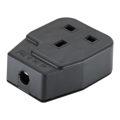 UK Mains Socket (13Amp) Rewireable Black (BS1363)
