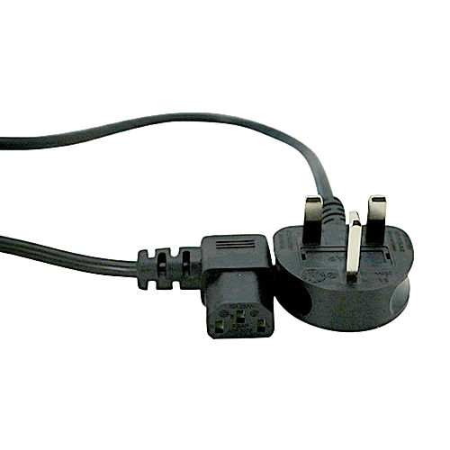 2m UK (5Amp) - Right Angle IEC C13 Black PVC 0.75mm Power Lead