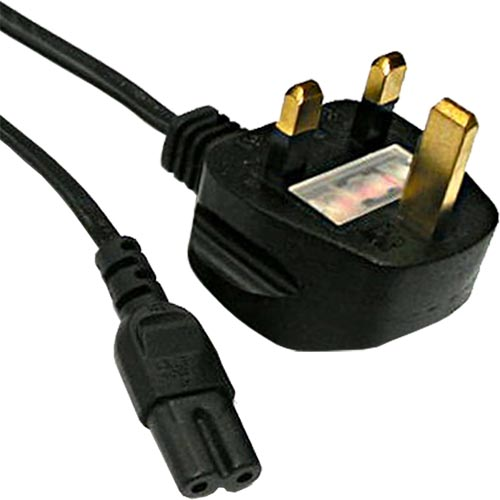 5m UK (3Amp) - IEC C7 Figure of 8 Black PVC 0.75mm Power Lead