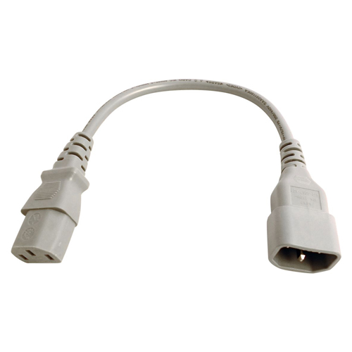 0.3m IEC C14 - IEC C13 Grey PVC 0.75mm Power Lead