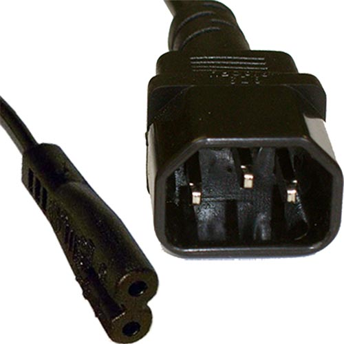 2m IEC C14 - IEC C7 Figure of 8 Black PVC 0.75mm Power Lead