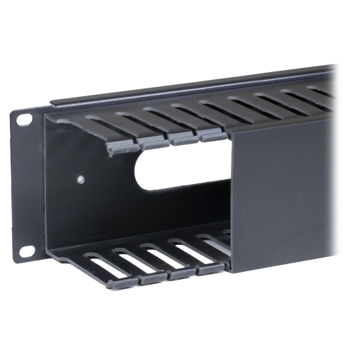 2u Cable Dump Panel Plastic with Pass Through Black