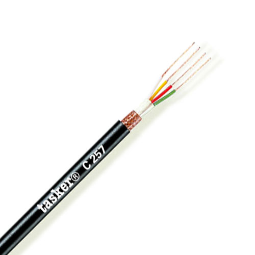 Tasker 100m Microphone Quad Cable 4 Core (0.22mm) Black