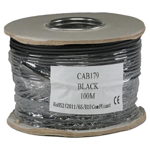 RG179 75Ohm Solid LSOH CPR Eca Coax Cable Black 100m Reel