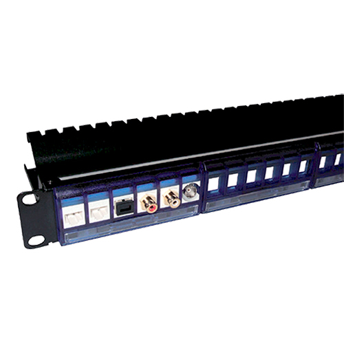 24 Port Front Access Panel Blue - Removeable Modules