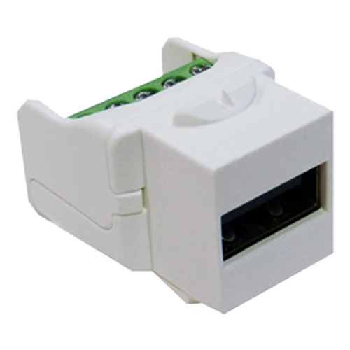 USB 2.0 Type A Female - 5 Pin Terminal Keystone White