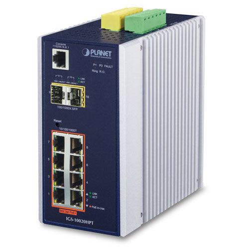 IP30 Industrial Managed Gigabit 8 Port + 2 SFP PoE + Ethernet Switch