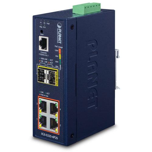 IP40 Industrial Managed Gigabit 4 Port + 2 SFP PoE + Ethernet Switch