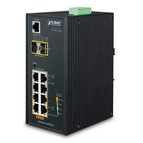 IP30 Industrial Managed Gigabit 4 Port + 2 SFP PoE + Ethernet Switch