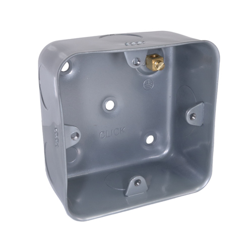Metal Back Box Single Gang 40mm for 20mm Conduit