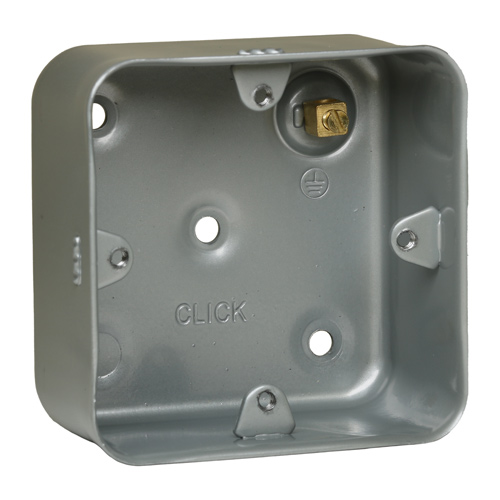 Metal Back Box Single Gang 40mm Without Knockouts