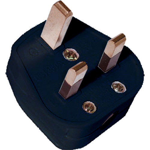 UK Mains Plug (13Amp) Black (BS1363)