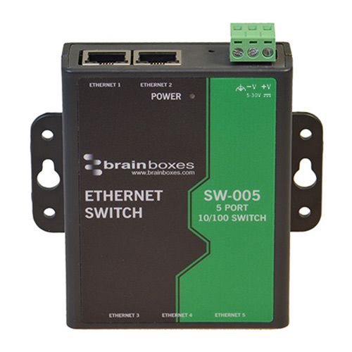 Brainboxes Industrial Unmanaged Ethernet Switch 5 Port Wall Mountable