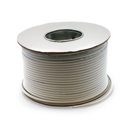 Serial Digital 75Ohm LSOH CPR Eca Coax Cable White 100m Reel