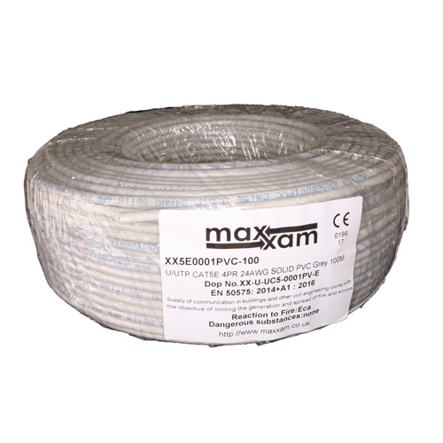 Cat5e Grey U/UTP PVC 24AWG Solid CPR Eca Cable 100m Reel